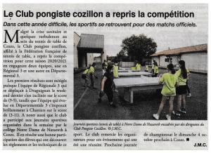 Le Club Pongiste Cozillon a repris la compétition !