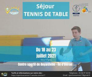 Sport Vacances 17 – Séjour Tennis de Table