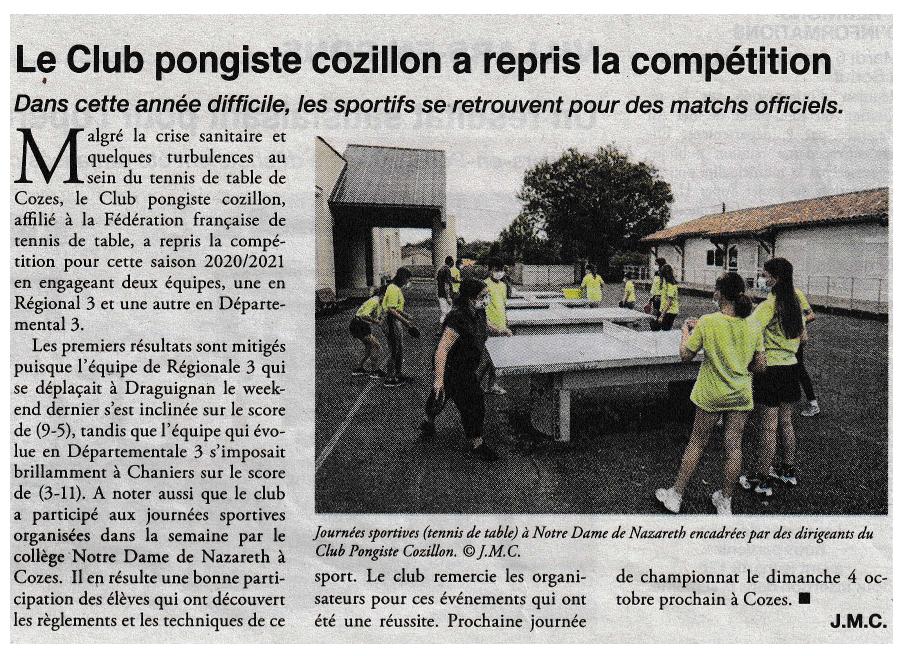 You are currently viewing Le Club Pongiste Cozillon a repris la compétition !
